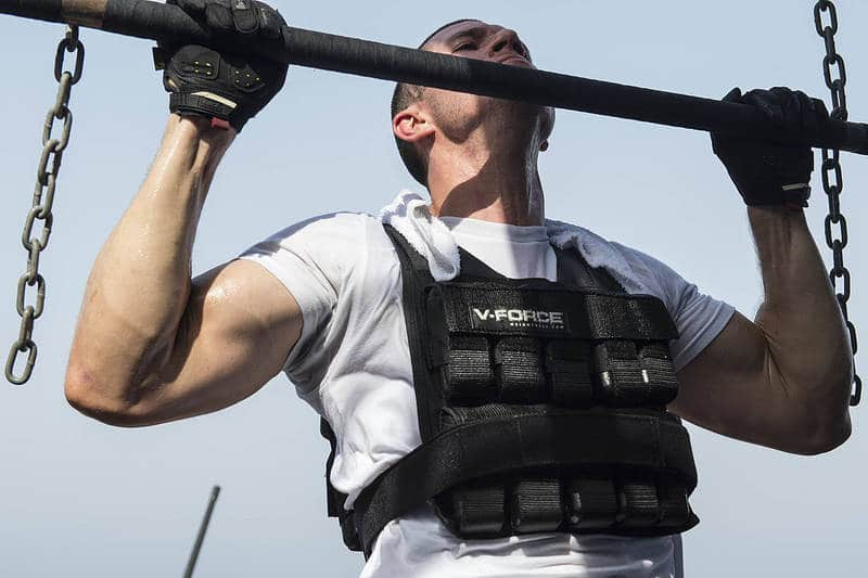 Picture of Man Doing Pullups Wearing Weighted Vest