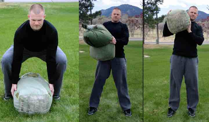 Picture of Man Using Fitness Sandbag Shouldering Technique