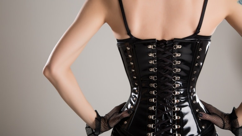 Picture of a woman wearing a waist trainer showing her back