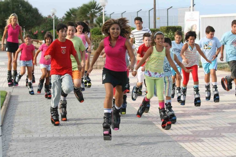 Picture of people exercising using kangoo jumps