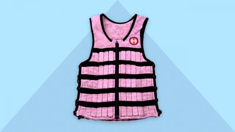 Picture of a weighted vest and blue background